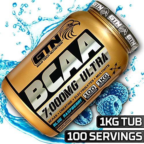 Gold Tech's Optimum Nutrition BCAA Powder | Amino Acid Powder BCAA 100 Servings 7000mg Per Serving | BCAA Powders Amino Acid with Multivitamins and Electrolytes. BCAA Powder by GTN (Blue Raspberry)