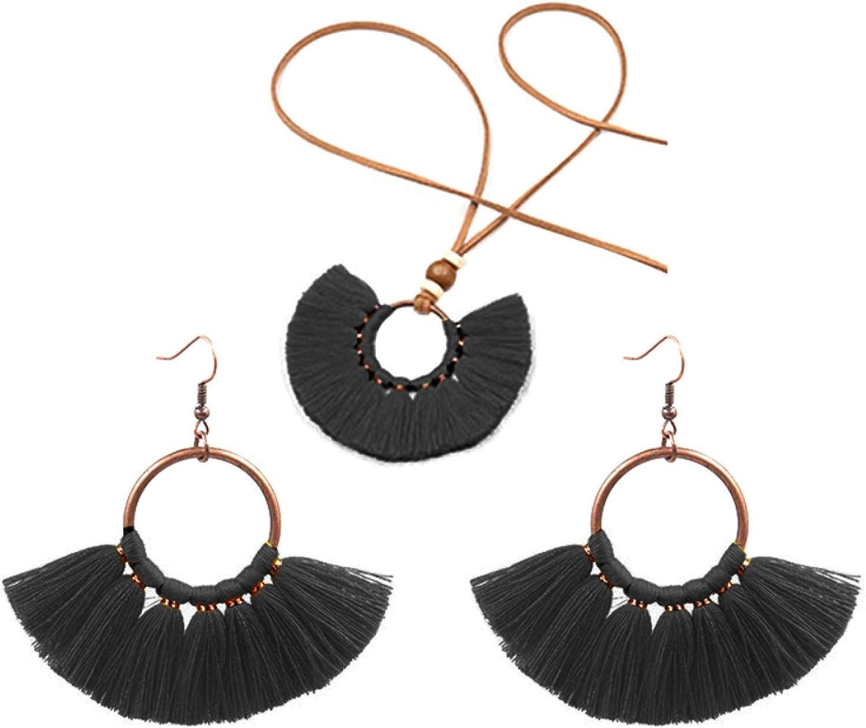 Women's Fashion Jewelry Sets,Bohemian Round Pendant Fringe Tassel Rope Necklace Earrings Jewelry Set