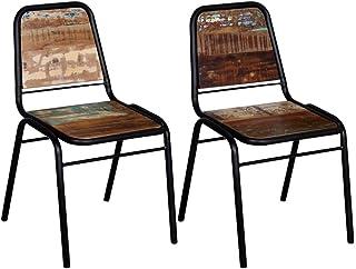 UnfadeMemory Juego Sillas de Comedor,Silla de Cocina,Estilo Antiguo,Estructura de Acero,Madera Reciclada,44x59x89cm (2uds)