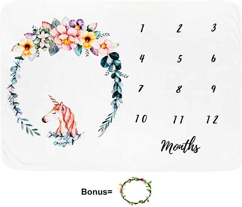 Baby Monthly Milestone Blanket Large 60 X40 For Boy Girl Bonus Floral Wreath 1 12 Months Flannel Personalized Photography Background Blankets Baby Swaddling Month Blanket Baby Shower Gifts