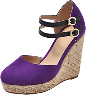 COOLCEPT Women Classic Wedge Heel Summer Sandals Closed Toe
