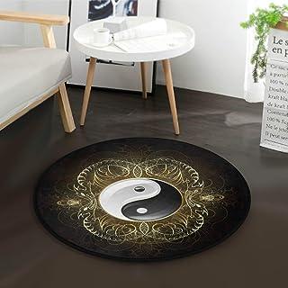 Tapis Rond Vintage Chinois Yin Yang pour Le diamètre de la Chambre à Coucher de la Salle de séjour (92 cm)