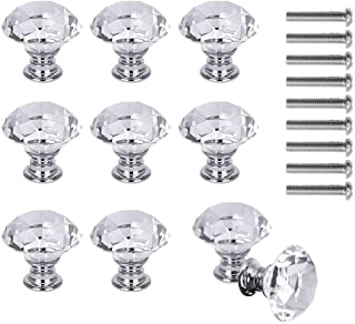 Pinshion 10 Pcs Crystal Glass Cabinet Knobs, 30mm Diamond Shape Drawer Pulls Handles, White Clear Crystal Glass Cabinet Kn...