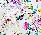 Stoff aus 100 % Baumwolle, Motiv: Magnolie, Blume und Kolibri, Meterware