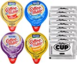 Coffee-Mate Liquid .375oz Variety Pack (4 Flavor) 100 Count includes Original, French Vanilla, Hazelnut, Italian Sweet Crème & By The Cup Sugar Packets
