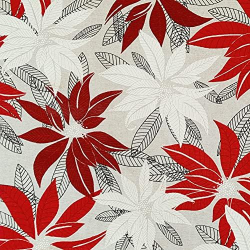 Stoff Tela de algodón natural, diseño de estrella de Navidad, color rojo y blanco, fácil de limpiar, con flores navideñas...