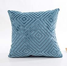 BHJTR Sofa Pillow Geometric Patterns Solid Color Flocking Comfy Throw Pillow5 Colors (18�18in, Blue)