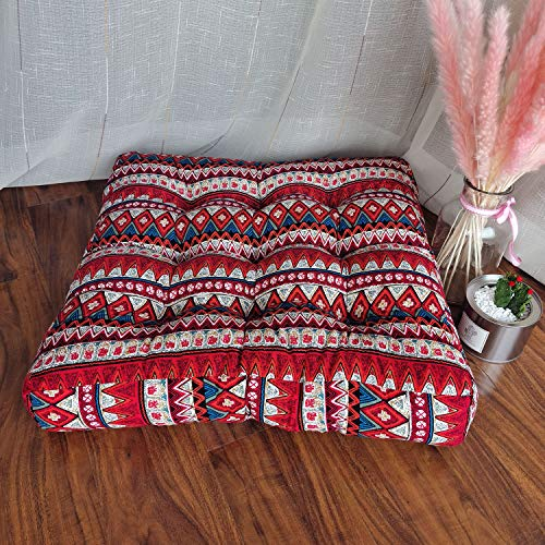JINMURY Cojín cuadrado grande de piso de 55,88 cm, cojines de meditación, diseño de mandala, asiento indio, tatami, alfombras para sala de estar, guardería, balcón, jardín, rayas rojas