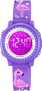 Venhoo Kids Girls Watches 3D Cartoon Waterproof 7 Color Digital Child Toddler Wrist Watch for Girl Kids-Purple Flamingo