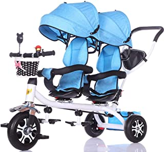 Jixi Baby Carriage Children's Double Tricycle Twin Baby Bicycle Light Trolley Big Stroller Extended Awning Storage Basket (Color : F)