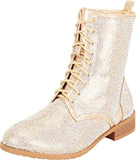 Cambridge Select Women`s Crystal Rhinestone Lace-Up Chunky Block Low Heel Ankle Boot