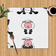 Cute Sheep Set Wildlife Illustrations Clip Art Colour Print Placemats,Placemats,Placemats Dining Table,Heat-Resistant Placemats, Stain Resistant Washable PVC Table Mats,Kitchen Table Mats,Sets 6,12 X