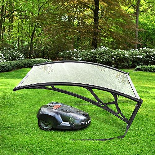 Anth Carport para Robot Cortacésped - Protección para tu Robot - Policarbonato Cubierta de Garaje - Cubierta de Garaje para Cortacéspedes Maquinaria Jardín - 100 * 78 * 50cm (Blanco Transparen