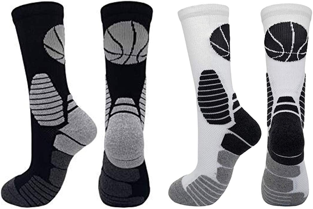 2 Pairs Crew Super beauty product restock Tucson Mall quality top Cushioned Basketball Socks Women Mid-calf for A Men