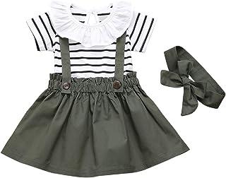 DaMohony Vêtements pour bébé fille à manches courtes à volants rayés + jupe porte-jupe + bandeau 3 pièces