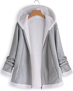 7dab4f0b2f3c ANJUNIE Jacket Women's Curved Hem Longline Faux Fur Sherpa Fleece Hoodie  Coat