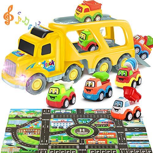 Yetech Camión Transportador Coches Juguete con Luz y Sonido,5en1 Tire del Camiones de Juguete,Incluye mezcladoras de Cemento/topadoras/Camiones/Alfombra de Juego,Juguetes Regalos para Niños 3-8Años
