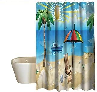 Denruny Shower Curtains White Gold Beach,Cartoon Coast Pattern,W72 x L72,Shower Curtain for Kids