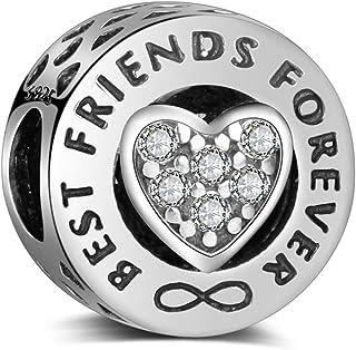 LaMenars Abalorios de Plata de Ley 925 Charms Originales Regalos para Amigo Corazón Colgantes Best Friends Forever para Pa...