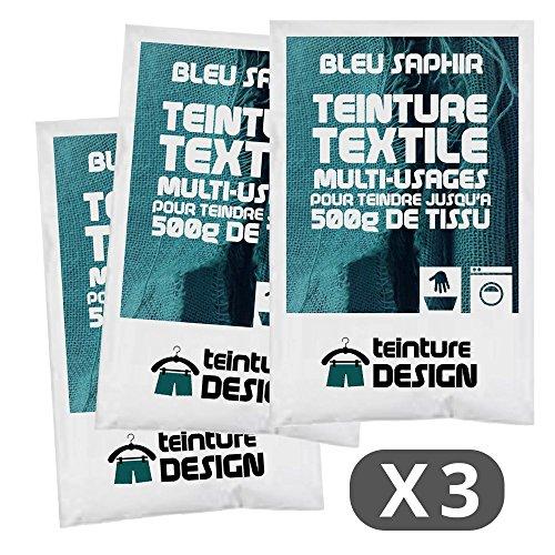 Lote de 3 bolsas de tinte textil – azul zafiro – Tintes universales para ropa y...