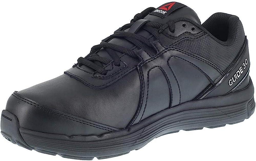 Reebok Work Men's Black Leather Regular discount Shoes St Directly managed store Metguard Sr