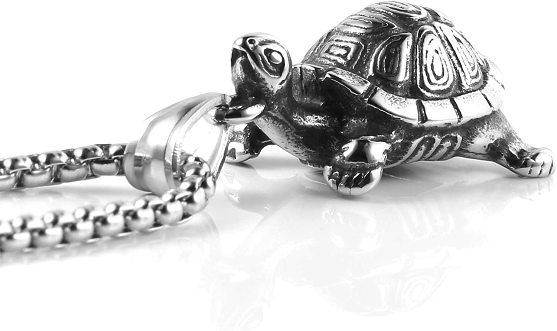 HZMAN Vintage Tortoise Turtle Stainless Steel Pendant Necklace for Men Women Fashion Jewelry