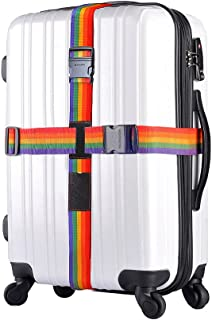 Adjustable Luggage Strap Travel Suitcase Baggage Packing Belt Security Rainbow Straps with Name Tag Slot