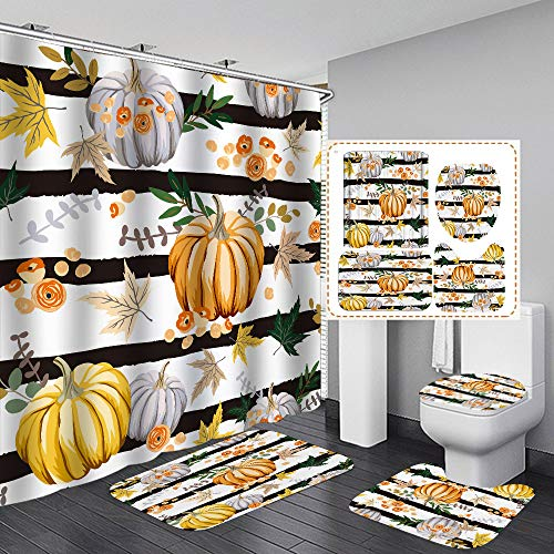 4Pcs Black Strips Fall Shower Curtain Set with Non-Slip Rugs, Toilet Lid Cover and Bath Mat, Pumpkin Flower Green Leaves Fabric Shower Curtains with 12 Hooks for Bathroom (Stripe Pumpkin, 4Pcs/Set)
