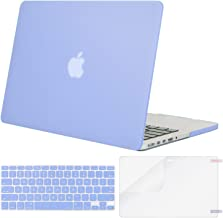 MOSISO Case Only Compatible with Older Version MacBook Pro Retina 13 inch (Models: A1502 & A1425) (Release 2015 - end 2012), Plastic Hard Shell & Keyboard Cover & Screen Protector, Serenity Blue