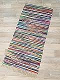 Kottig Fleckerlteppich Hochwertiger Handweb Fleckerl Teppich Arlberg 70x140 cm 2.200g/m2 Schwere Qualität Multicolor