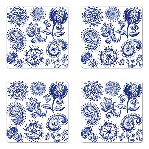 Ambesonne Blue and White Coaster Set of 4, Old Fashioned Motifs in Watercolor Style Paisley Mandala Floral, Square Hardboard Gloss Coasters, Standard Size, Navy Blue