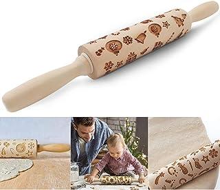 O-Kinee Rouleau à Pâtisserie en Bois, Noël Rouleaux Pâtisserie de Motif, Wooden Rolling pin pour Faire Cuire Biscuits de R...