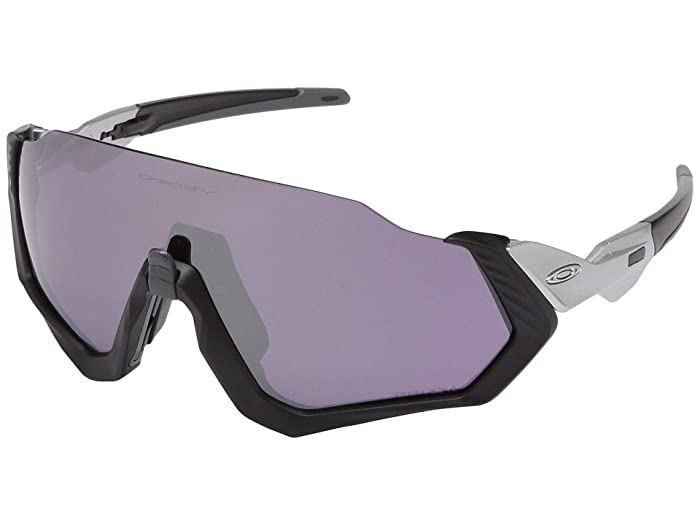 Oakley  37mm Flight Jackettm (Matte Black/Silver with PRIZM Road Black) Fashion Sunglasses