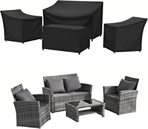 SIRUITON Patio Furniture Covers 420D Heavy Duty 4-Piece Outdoor Veranda Patio Garden Furniture Set with Durable and Water Resistant Fabric (Black)