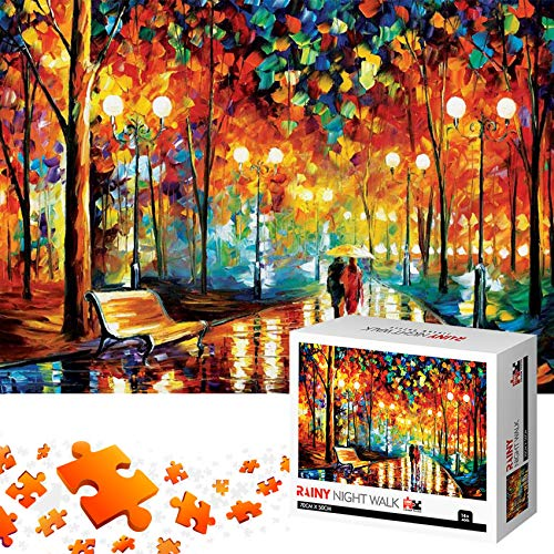 Jigsaw Puzzles 1000 Pieces for Adults for Kids-Rainy Night Walk, Means Pieces Fit Together Perfectly Wood Jigsaw Puzzles
