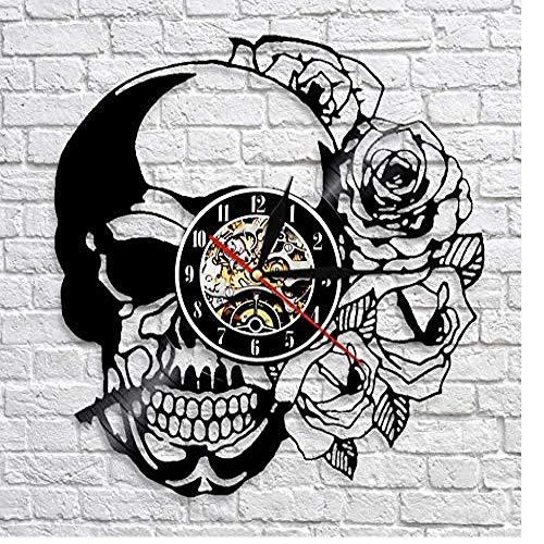 syssyj Calavera con Reloj Rosa Reloj de Pared de Vinilo Vintage Reloj Decoración Reloj de Calavera Esqueleto Punky Reloj Hecho a Mano Decoración de Arte de Pared 12 Pulgadas