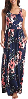 Zattcas Women Floral Maxi Dresses Sleeveless Casual Summer Long Dress with Pockets