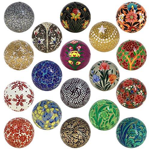 Shalinindia Decorazione di Natale Ornamenti per Albero Handmade Paper Mache Palle Set di 18