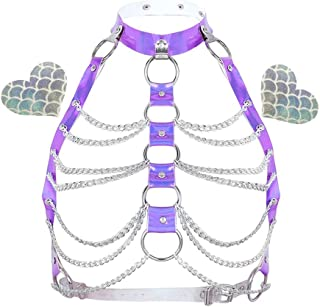 Rave Hologram Body Chest Harness Cage Bra Choker Chain Belts Body Costume with Pasties for Music Festival Roleplay Clubwear