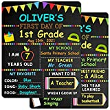First & Last Day of School Chalkboard - 10'' x 12'' First Day School Board - 1st Day Back to School Board Milestone Sign Photo Prop for Kids Boys Girls - Double-Sided & Reusable(Bunting Style)