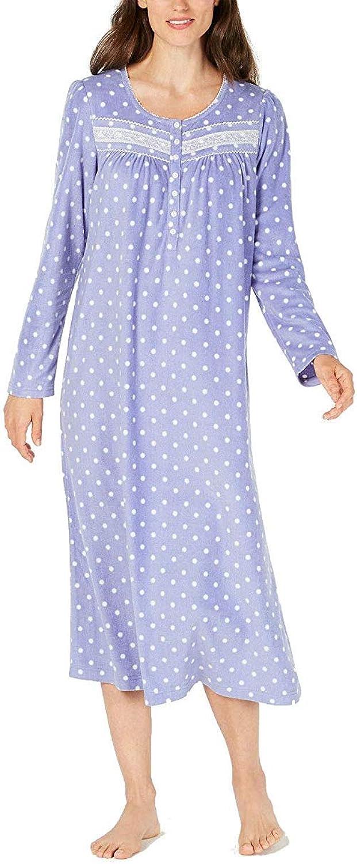 Charter Club Printed Fleece Nightgown bluee XS