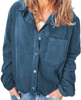 Macondoo Women's Button Up Corduroy Long Sleeve Casual Solid Pocket Shirts