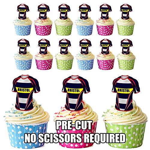 prédécoupés Bristol Rugby Chemises comestible pour cupcakes/gâteau Décorations (lot de 12)
