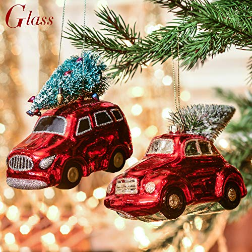 Valery Madelyn 2ct Luxury Red Gold Christmas Ornaments, Truck with Tree Glass Blown Ornaments, 5.12inch/13CM,Themed with Tree Skirt(Not Included)
