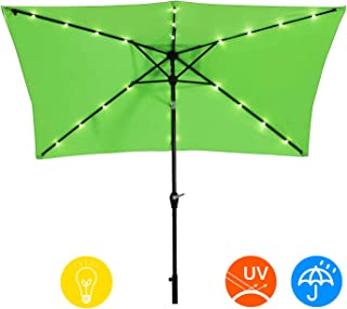 AI-LIN 10 x 6.5ft LED Lighted Patio Market Umbrella Outdoor Solar Powered Table Umbrella, 6 Ribs (Light Green)