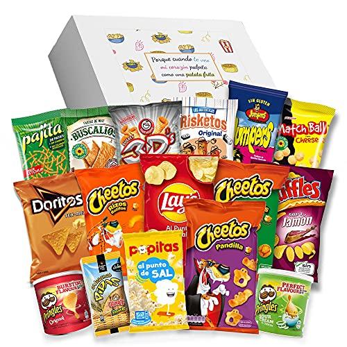 Caja regalo de Snack - Pringels, Cheetos, Ruffles, Lays, 3D, Jumpers, Pajitas, Doritos, Palomitas, Pan con pipas, Risketos y más. Regalo original I Edición España