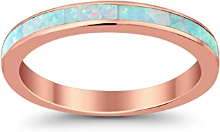 Blue Apple Co. 3mm Full Eternity Wedding Engagement Band Ring Lab Created White Opal Rose Tone Plated 925 Sterling Silver