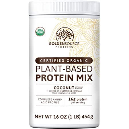 GoldenSource Proteins, Organic Plant-Based Protein, Coconut, 1 Pound, 18 Servings, 22 Vitamins & Minerals, Complete Amino Acid Profile, Free from Gluten, Soy, Dairy & Peanut, no Added Sugar