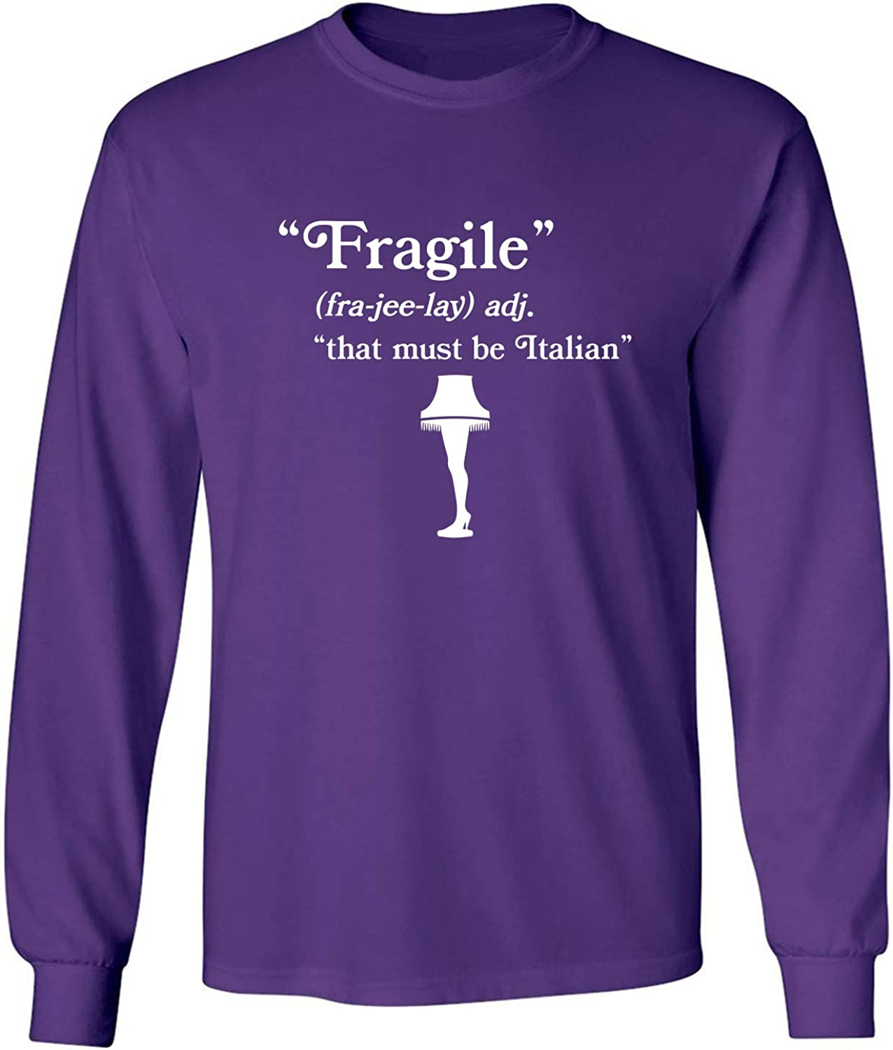 Fragile That Must Be Italian Adult Long Sleeve T-Shirt in Purple - XXX-Large