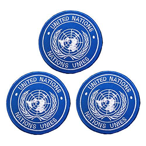 Paquete de 3 parches de la bandera de las Naciones Unidas bordados para planchar y coser – emblema táctico militar moral divertido parches con cierre de gancho y bucle en la parte trasera